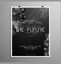 Stylish minimal darl flyer template with event vector