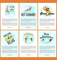 summer relaxation and good time people seaside vector image
