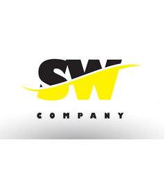 sw s w black and yellow letter logo with swoosh vector image