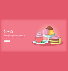 Sweets banner horizontal cartoon style vector