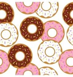 Tasty donuts seamless pattern template vector