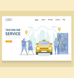 taxi online service website landing page vector image