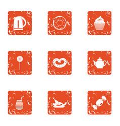 Teaspoon icons set grunge style vector