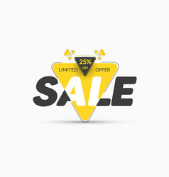 template yellow triangular banner sticker with vector image