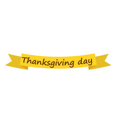 thanksgiving day ribbon icon flat style vector image