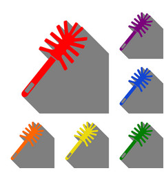 toilet brush doodle set of red orange yellow vector image