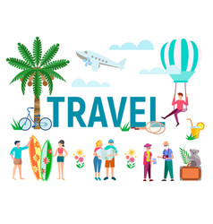 tourists travel to tropical countries study the vector image