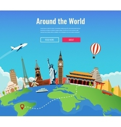 Travel to World Road trip Tourism Landmarks on vector