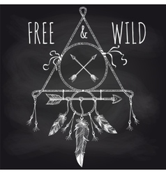 Tribal accessory with feathers on blackboard vector