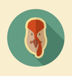 Turkey flat icon animal head vector