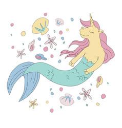 unicorn mermaid vector image
