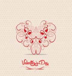 Valentines day card with heart ornament vector