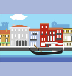 venice city colorful flat style cityscape with vector image