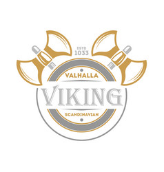 Viking isolated label with warrior ax vector