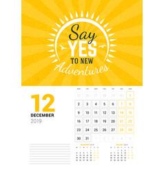 wall calendar template for december 2019 design vector image