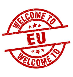 Welcome to eu red stamp vector