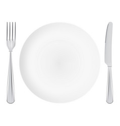 White plate with fork and knife crossed isolated vector