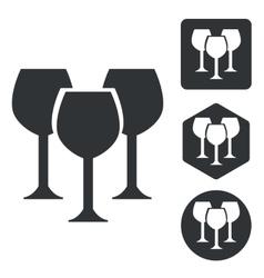 Wine glass icon set monochrome vector image