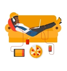 Woman with gadgets lying on sofa vector