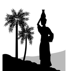 Woman with vessel icon Desert design vector image