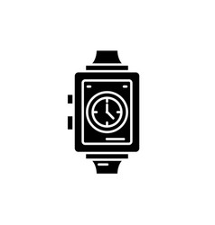 wrist watch black icon sign on isolated vector image