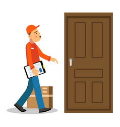 Young delivery man delivery parcel to the door vector
