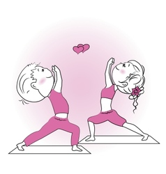 Young girl and boy doing yoga exercise isolated on vector image