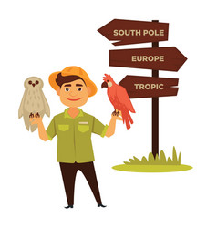 Zoo worker with parrot and owl stands neat vector