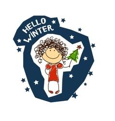 emblem with a fun girl Christmas Holidays vector image