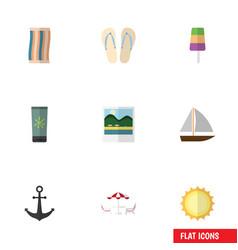 flat icon beach set of sundae recliner sunshine vector image