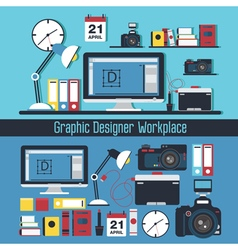 Graphic Designer Workplace Concept vector image vector image