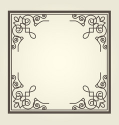 square frame with ornate curly corners vector image vector image