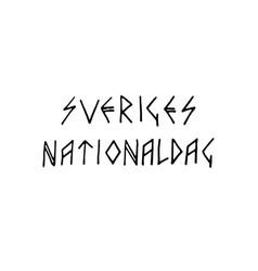 sweden national day lettering vector image