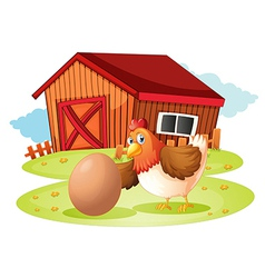 A hen with egg vector image vector image
