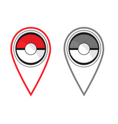 active and passive map pokeball style flat pins vector image vector image