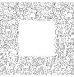 animal toys seamless frame pattern vector image