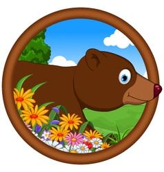 brown bear cartoon in frame vector image vector image