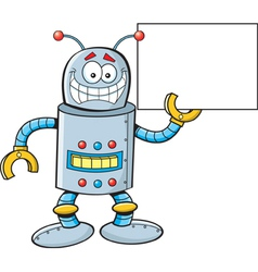Cartoon Robot with a Sign vector image