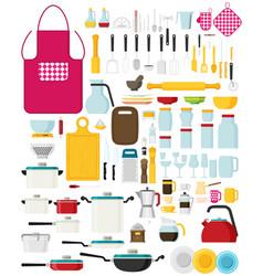 kitchen utensils set flat kitchenware cookware vector image vector image