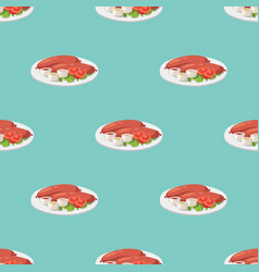 smoke dried sausages seamless pattern dish meat vector image