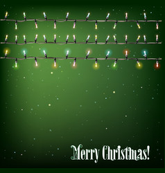 Abstract background with Christmas lights on green vector image