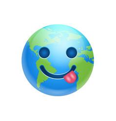 cartoon earth face show tongue icon funny planet vector image vector image