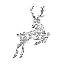 Coloring page with bohemian running deer isolated vector image vector image