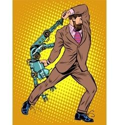 Cyclops businessman against a robot vector image vector image