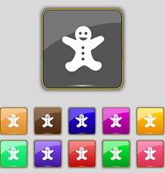 Gingerbread man icon sign Set with eleven colored vector image vector image
