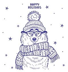 Husky winter vector image vector image