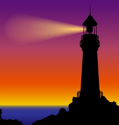 Lighthouse silhouette in sunset vector image vector image