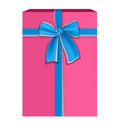 pink gift box with blue ribbon icon flat style vector image vector image