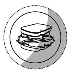 silhouette emblem sticker sandwich icon vector image vector image