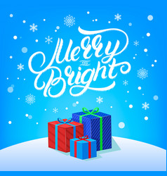 merry and bright hand written lettering vector image vector image